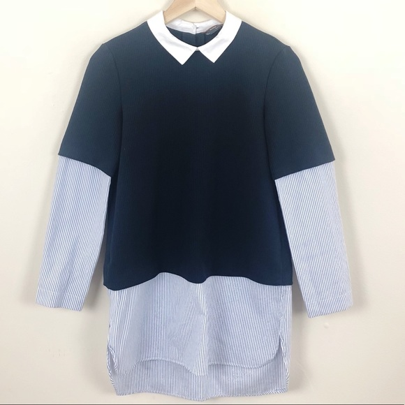 505be3f17a0 Zara Trafaluc Collection Mock Layer Ribbed Sweater